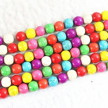 "Rainbow color Turquoise stone 4mm 6mm 8mm 10mm 12mm beads diy jewelry loose beads 15"" B289"
