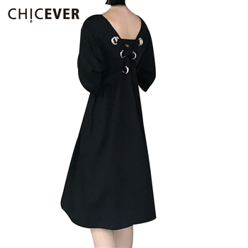 CHICEVER 2017 Summer Dress Women Backless Vintage Short Sleeve O neck Black Bandage Dresses Female Clothes Fashion Vestidos