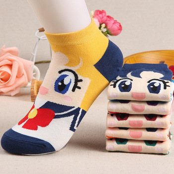 6 pairs/lot 2017 New Style Cotton Women Sock Lady Cotton Girl Cute Female American girl Warrior Printing Socks Cartoon Socks
