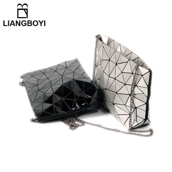 NEW Women Messenger Bags 2017 Fashion Irregular Geometry Leather Shoulder Crossbody Bags Diamond Lattice Fold Over Small Bag